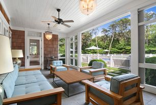 Contemporary Porch with Transom window, Fence, French doors, exterior stone floors, Screened porch, sliding glass door
