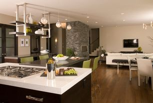 Contemporary Great Room with Wall sconce, Pendant light, Fireplace, gas cooktop, Hardwood floors, Standard height, can lights