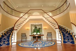 Traditional Staircase with Balcony, Hardwood floors, High ceiling, Double staircase, interior wallpaper, Crown molding