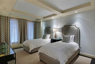 Traditional Guest Bedroom with Standard height, Box ceiling, can lights, Hardwood floors