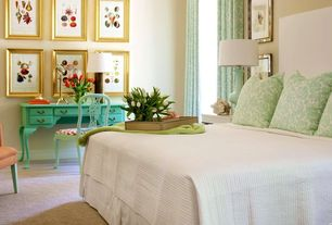 Eclectic Master Bedroom with Standard height, Carpet, Turquoise french provencal desk, Paint 1