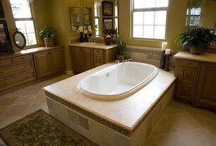 Traditional Master Bathroom with limestone tile floors, Raised panel, full backsplash, Wall Tiles, Flush, drop-in sink