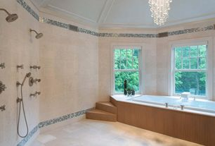 Contemporary Master Bathroom with no showerdoor, Shower, stone tile floors, double-hung window, Corian counters, Bathtub