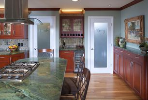 Traditional Kitchen with specialty door, Laundry Smooth 1 Lite Primed MDF Interior Door Slab, Complex marble counters