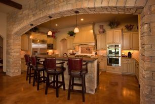 Country Kitchen with Breakfast bar, built-in microwave, Paint 1, Polished concrete floor, Kitchen island, full backsplash