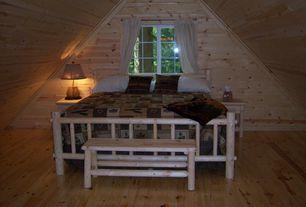Rustic Guest Bedroom with Rustic Cedar - 36'' Wood Picnic Bench (Set of 2), Castlecreek - King Cedar Log Bed, Hardwood floors