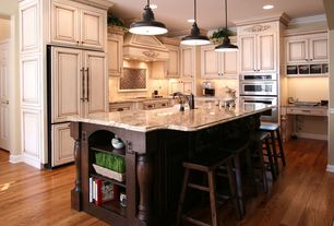 Mediterranean Kitchen with Tribecca Home Salvador Cherry High Saddleback Stool, Pental Sunset Beige Polished Granite