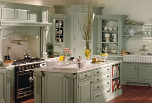 Country Kitchen with Farmhouse sink, Subway Tile, Pot filler faucet, Limestone counters, Kitchen island, Glass panel