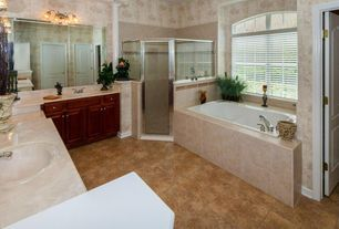 Traditional Master Bathroom with Bathtub, Limestone counters, Master bathroom, Undermount sink, Shower, stone tile floors