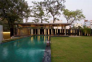 Modern Swimming Pool with Lap pool, Fence, Gazebo, Pathway