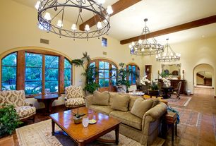 Traditional Living Room with Carpet, High ceiling, Exposed beam, Chandelier, slate tile floors