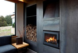 Contemporary Living Room with Built-in bookshelf, insert fireplace, High ceiling, picture window, Fireplace, Carpet
