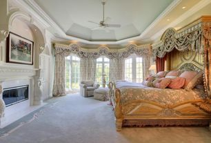 Traditional Master Bedroom with picture window, Carpet, High ceiling, can lights, Ceiling fan, French doors, Fireplace