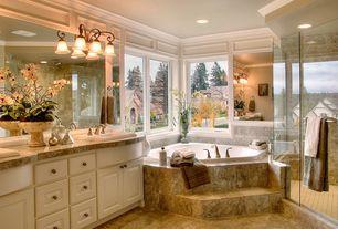 Traditional Master Bathroom with Golden Lighting Brookfield 3 Light Bath Vanity Light, Complex granite counters, Double sink