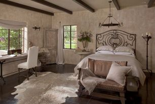 Eclectic Guest Bedroom with Standard height, Chandelier, Exposed beam, Casement, Concrete tile , can lights