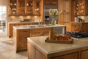 Craftsman Kitchen with L-shaped, Flush, French doors, Glass panel, stone tile floors, Multiple Sinks, Raised panel