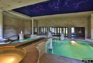Traditional Hot Tub with exterior brick floors, Fountain, Indoor pool, French doors