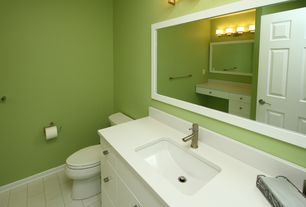 Modern Full Bathroom with Grohe Concetto Lavatory Center Set, Corian counters, specialty door, Flush, Undermount sink