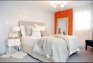 Modern Guest Bedroom with West elm mid-century nightstand, Standard height, Paint, Chandelier, Carpet, Paint 2