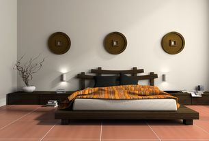 Contemporary Guest Bedroom with Modloft Worth Bed, Daltile Colour Scheme Fire Brick Glazed Porcelain Tile, Wall sconce