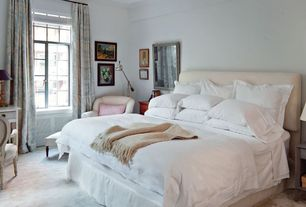 Eclectic Master Bedroom with Standard height, Casement, Carpet