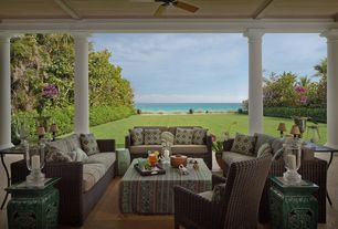 Tropical Porch with Screened porch, Fence, exterior stone floors