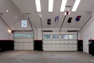 Traditional Garage with Cathedral ceiling, Concrete floors, Paint 2, six panel door, Skylight, can lights, picture window