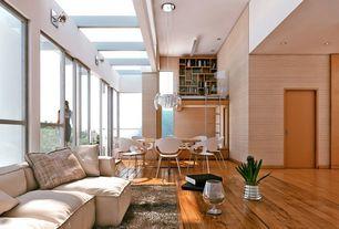 Contemporary Great Room with Chandelier, Skylight, Exposed beam, Hardwood floors, Built-in bookshelf, High ceiling