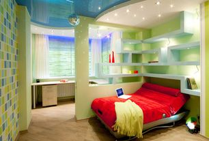 Contemporary Kids Bedroom with can lights, Laminate floors, no bedroom feature, Pendant light, Columns, Built-in bookshelf