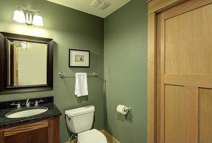 Traditional Powder Room with Flat panel cabinets, Flush, Powder room, Simple Granite, Simple granite counters, specialty door