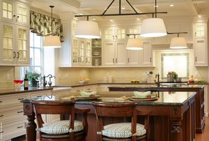 Traditional Kitchen with Custom hood, Farmhouse sink, Soapstone counters, Inset cabinets, L-shaped, flush light, Box ceiling