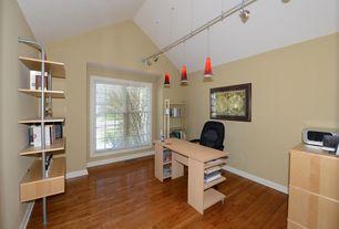 Contemporary Home Office with flush light, Pendant light, Hardwood floors, High ceiling, Built-in bookshelf
