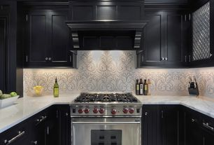 "Contemporary Kitchen with Dura Supreme Cabinetry Kendall Panel, Custom hood, Wolfe - 36"" dual fuel range - 6 burners"