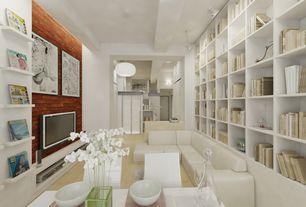 Contemporary Living Room with flush light, Built-in bookshelf, Laminate floors