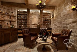 "Mediterranean Wine Cellar with Lamps plus la parra collection 9"" high wall sconce, interior brick, Standard height"