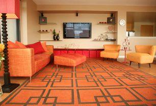 Modern Living Room with Hardwood floors, High ceiling, Carpet