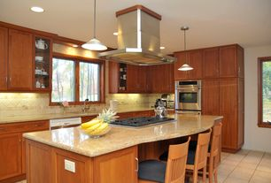 Craftsman Kitchen with Breakfast bar, Corian Clam Shell Solid Surface Countertop, L-shaped, Kitchen island, Undermount sink