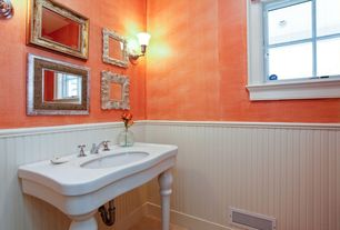 Eclectic Powder Room with High ceiling, Manor house 8 linear ft. mdf overlapping wainscot paneling kit, Wall sconce
