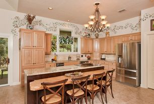 Country Kitchen with Simple granite counters, French doors, Chandelier, interior wallpaper, High ceiling, Undermount sink