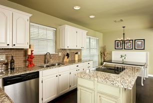 Traditional Kitchen with Inset cabinets, Breakfast nook, Chandelier, Subway Tile, Raised panel, Complex granite counters