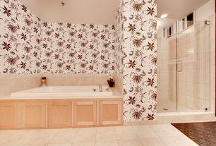 Eclectic Master Bathroom with Bathtub, stone tile floors, Master bathroom, Shower, can lights, drop in bathtub, Wall Tiles