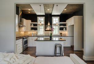 Eclectic Kitchen with Subway Tile, Standard height, full backsplash, Undermount sink, L-shaped, gas range, Breakfast bar
