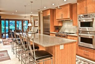 Contemporary Kitchen with full backsplash, Breakfast bar, One-wall, Kitchen island, stone tile floors, Standard height, Flush
