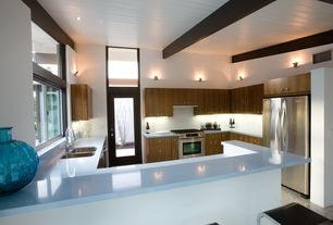 Contemporary Kitchen with L-shaped, Transom window, European Cabinets, Access Lighting Helius Wall Sconce No. 62084, Flush
