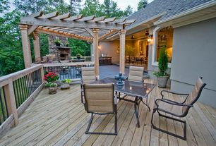 Traditional Deck with Arched window, Bird bath, 12 ft. x 12 ft. Vineyard Wood Pergola, Outdoor kitchen, outdoor pizza oven