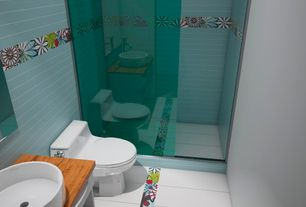 Contemporary 3/4 Bathroom with Flush, frameless showerdoor, Wood counters, Flat panel cabinets, Vessel sink