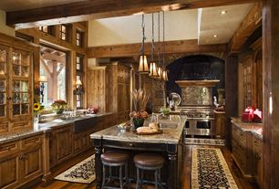 Craftsman Kitchen with Wall Hood, Kitchen island, picture window, double oven range, Exposed beam, Complex granite counters