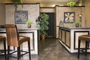 Tropical Bar with Built-in bookshelf, Concrete floors
