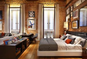 Contemporary Master Bedroom with interior brick, Hardwood floors, Handscraped maple nutmeg, engineered hardwood flooring