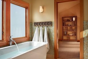 Craftsman Master Bathroom with Wall sconce, stone tile floors, Master bathroom, Paint, Standard height, Bathtub, Casement